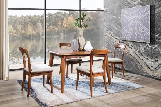 森盛实木家具优奢之家系列餐厅餐桌椅组合