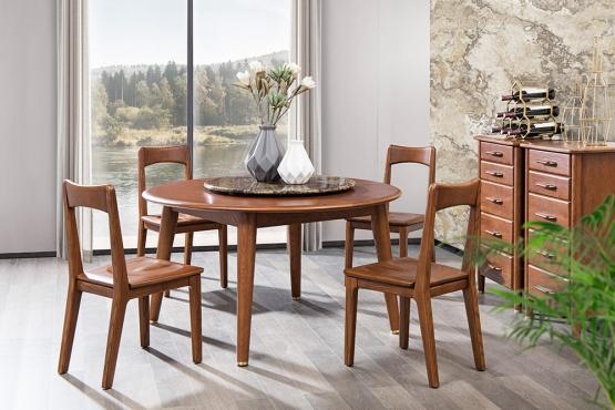 森盛家具轻奢系列优奢之家全实木圆形餐桌椅餐边柜组合