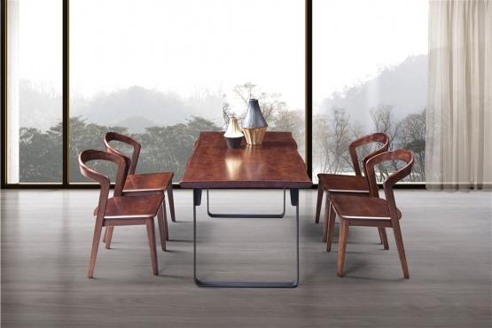 森盛极简意式风格木图系列全实木餐桌椅