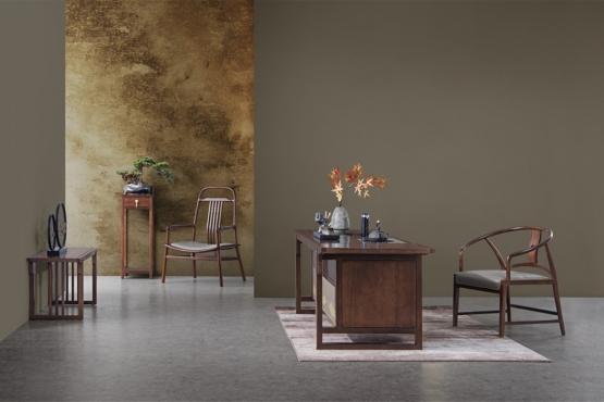天津森盛家具新中式全实木庐境书房书桌椅
