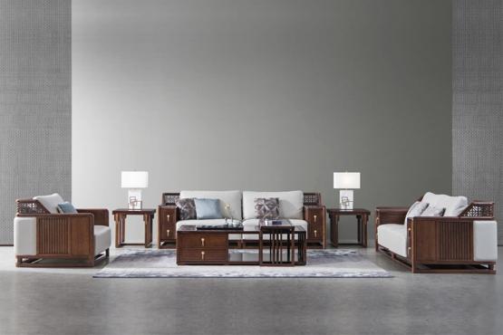 森盛家具新中式全实木庐境客厅沙发组合