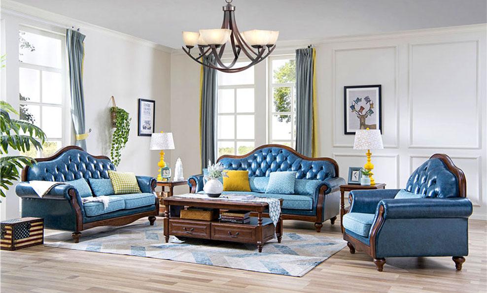 森盛现代家具美式风格舒美系列客厅
